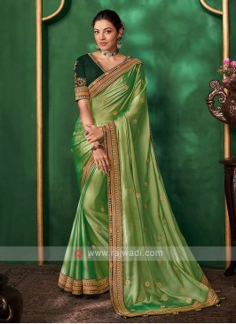 Satin Silk Light Green Color Saree