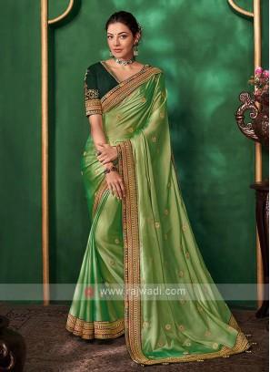 Satin Silk Light Green Color Saree