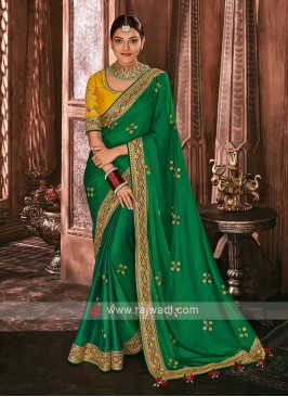Satin Silk Green Color Saree
