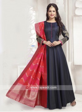 Satin Silk Long Anarkali Dress