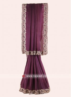 Satin Silk Magenta Border Work Saree