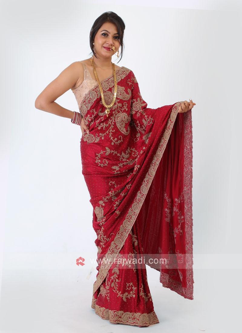 Satin Silk Maroon Color Saree