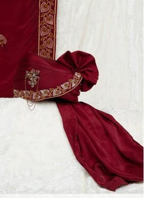 Satin Silk Maroon Safa And Dupatta For Dulha
