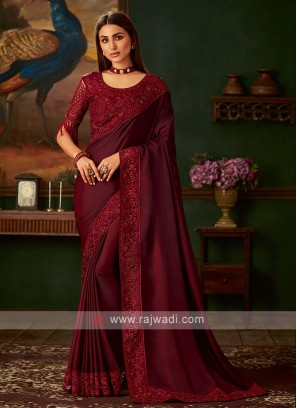 Satin silk maroon saree