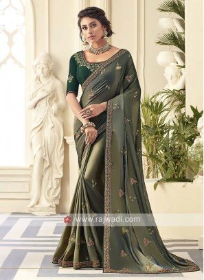 Satin Silk Mehndi Green Saree