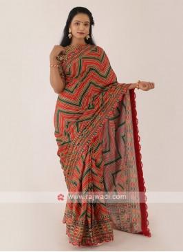 Satin Silk Multi Color Saree