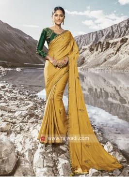 Satin Silk Mustard Yellow Saree