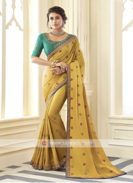 Satin Silk Mustard Yellow Saree
