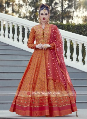 Satin Silk Orange Anarkali Salwar Kameez