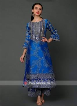 Satin Silk Palazzo Set In Blue