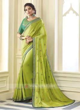 Satin Silk Parrot Green Saree