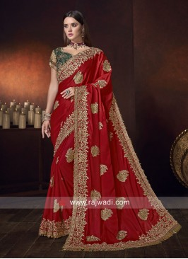Satin Silk Patch Work Saree in Red