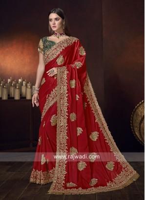Satin Silk Patch Work Saree in Red