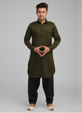 Satin Silk Pathani Suit For Men In Green And Black Color.