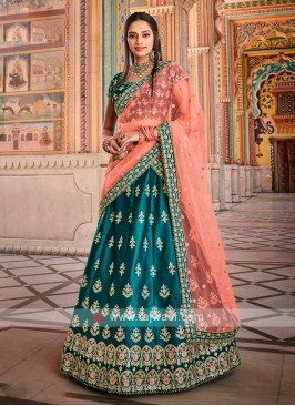 Satin Silk Peacock Blue Lehenga Choli