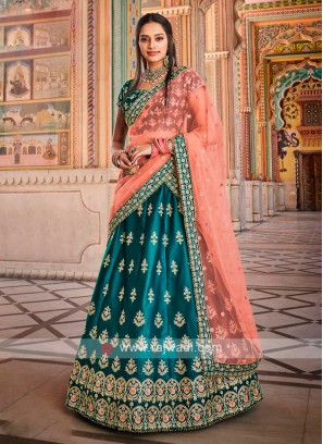 Satin Silk Peacock Blue Lehenga Choli