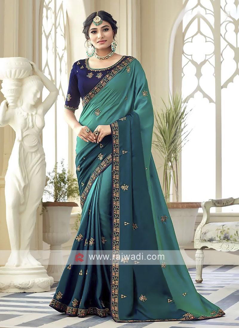 Satin Silk Peacock Blue Shaded Saree