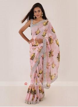 Satin Silk Pink Saree