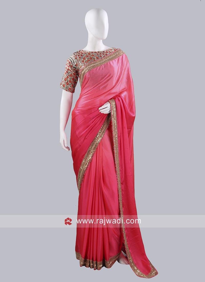 Satin Silk Pink Shaded Saree