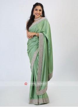 Satin Silk Pista Green Saree