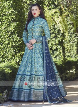 Satin Silk Printed Anarkali with Broach