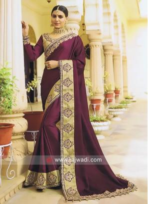 Satin Silk Purple Saree