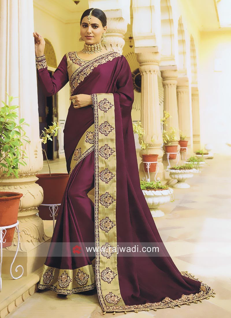 Satin Silk Purple Saree