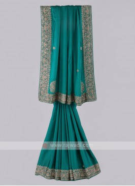Satin Silk Rama Color Saree