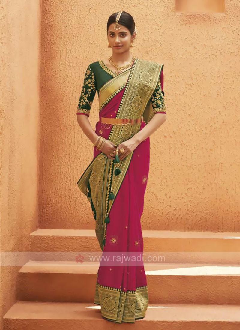 Satin Silk Rani Color Saree