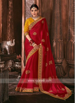 Satin Silk Red Color Saree
