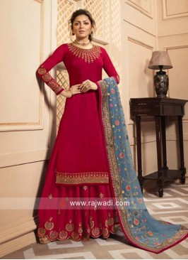 Satin Silk Red Salwar Suit with Grey Dupatta