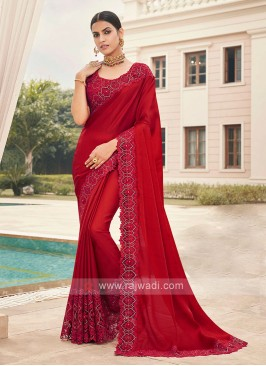 Satin Silk Red Saree