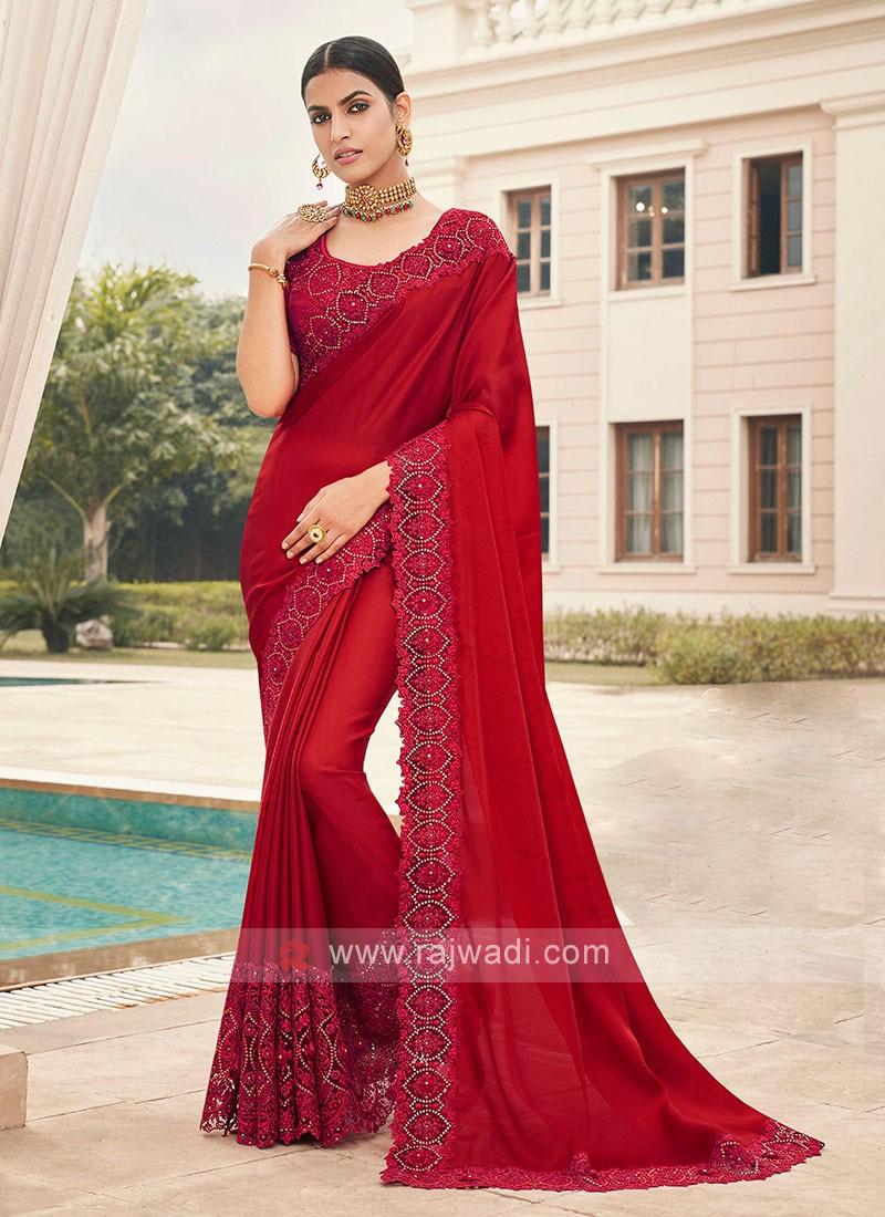 Satin Silk Red Saree