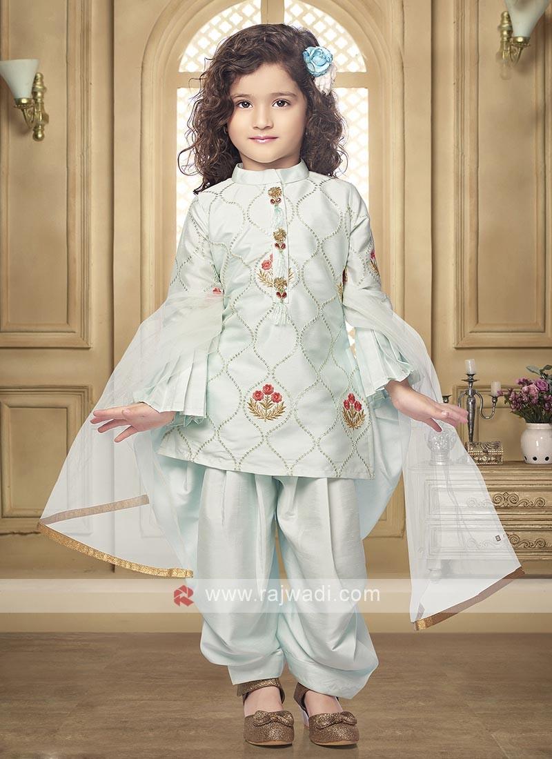 Satin silk salwar suit in firozi color