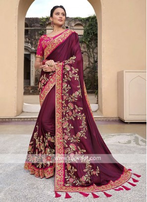 Satin Silk Saree In Burgundy