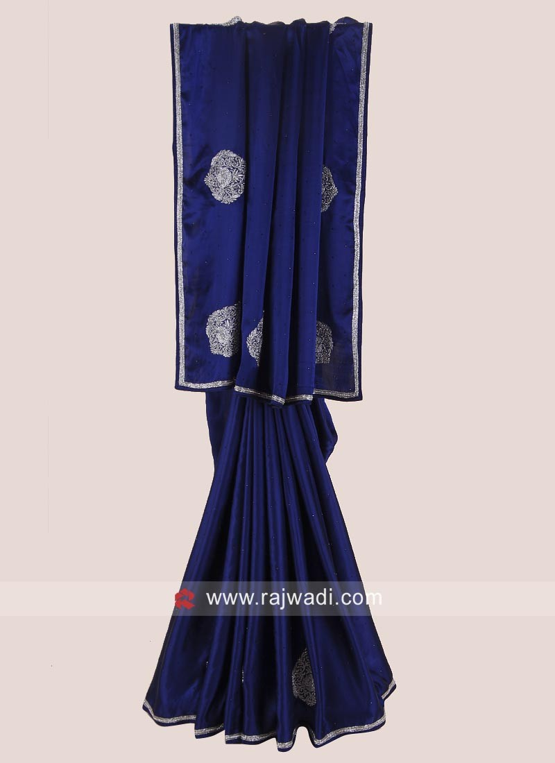 Satin Silk Saree in Dark Blue