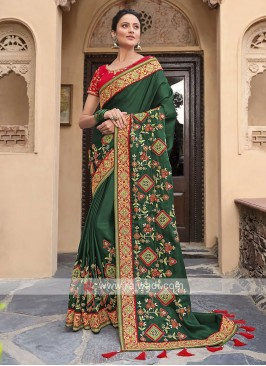 Satin Silk Saree In Green