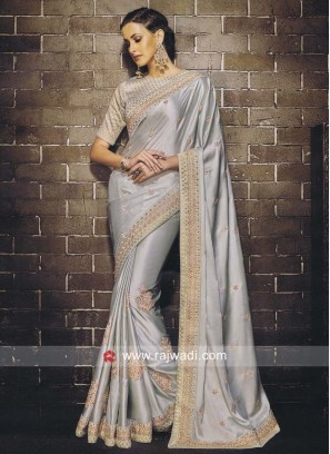 Satin Silk Saree in Grey