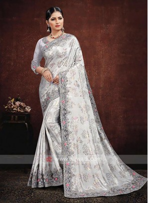 Satin Silk Saree In Grey Color