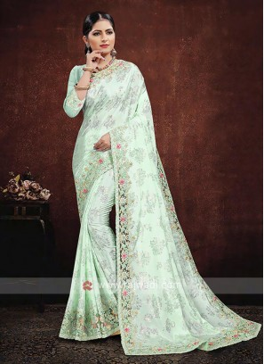 Satin Silk Saree In Light Green Color