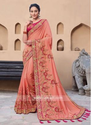 Satin Silk Saree In Peach