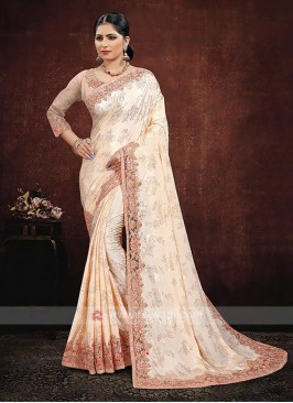 Satin Silk Saree In Peach Color