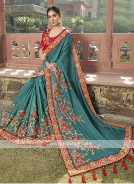 Satin Silk Saree In Peacock Blue
