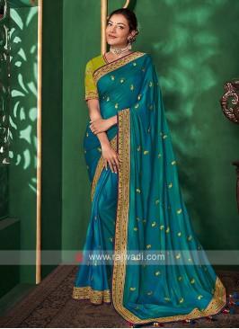 Satin Silk Saree In Peacock Blue Color