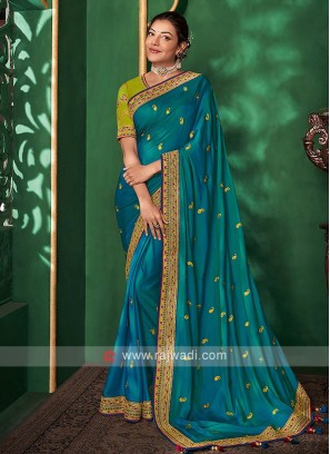 Satin Silk Saree In Peacock Blue Color
