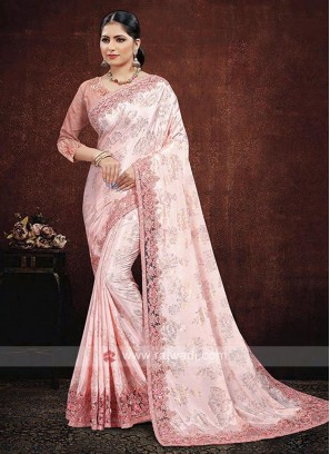 Satin Silk Saree In Pink Color