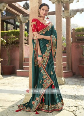 Satin Silk Saree In Rama Green