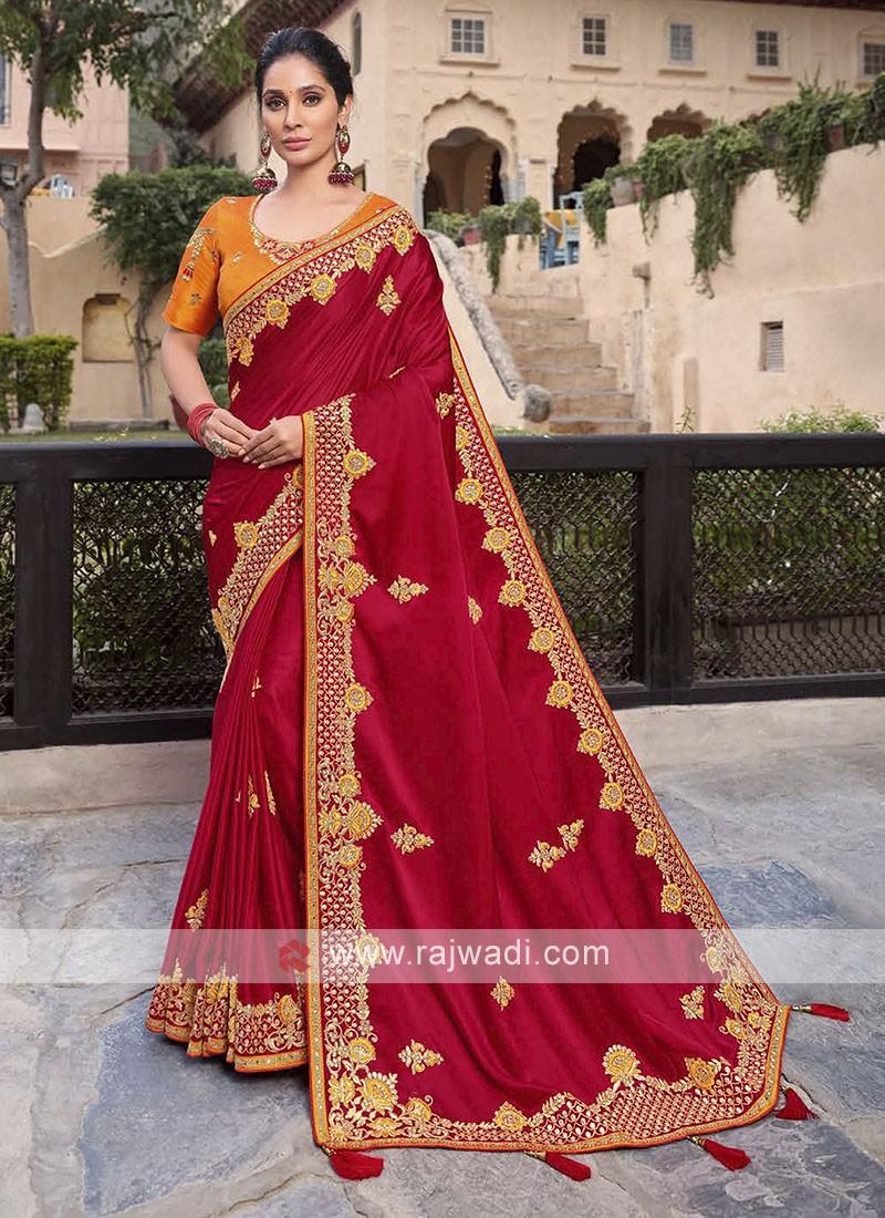 Satin Silk Saree In Red