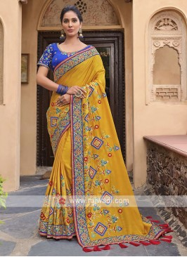 Satin Silk Saree In Yellow