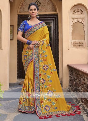 Satin Silk Saree In Yellow